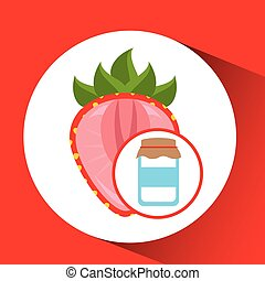 jar cute blue with jam strawberry graphic vector...