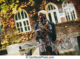 African american woman outdoor - African american woman...