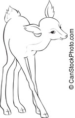 Beautiful cartoon deer. Black and white