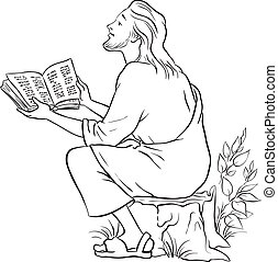 Vector illustration for Jesus reading the Bible. Black and...