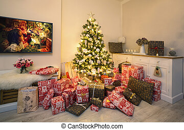 Christmas tree in living room - Decorated Christmas tree and...