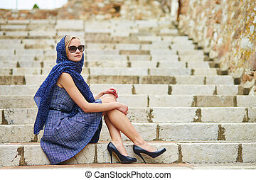 French woman in Cannes, at Le Suquet - Elegant French woman...