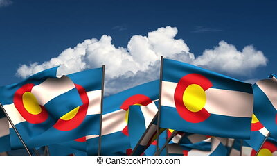 Waving Colorado State Flags (seamless & alpha channel)