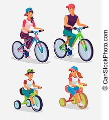 Set of vector illustration adults and children riding...