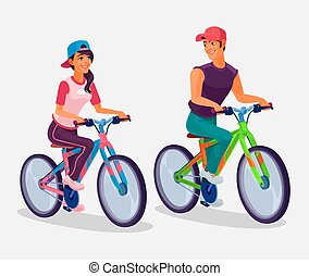 Young boy and girl riding bicycles - Vector illustration of...