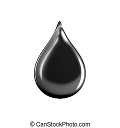 Close-up of black drop oil isolated on the white background.