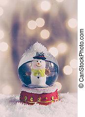 Snow Globe - Vintage snow globe with snowman over christmas...