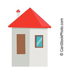 House Vector Illustration In Flat Design.