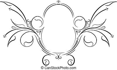 Unusual decorative floral oval black vector frame.