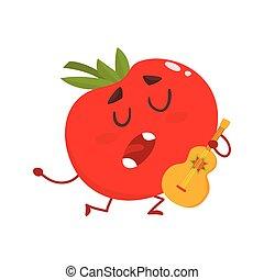 tomate, ficar, serenata, um, Guitarra, cantando, tocando, joelho