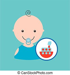 funny red ship toy baby icon vector illustration eps 10