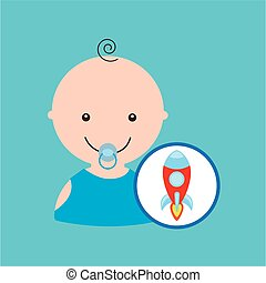 cartoon rocket toy baby icon