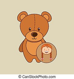 beautiful girl smiling teddy and stick horse vector...