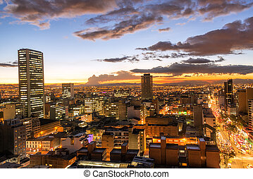 Bogota, Colombia at Dusk - View of downtown Bogota, Colombia...