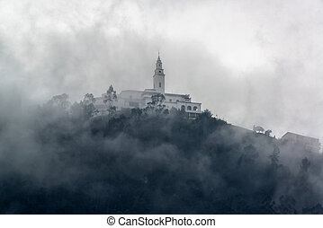 Monserrate in Fog - Monserrate church in the Andes Mountains...