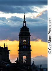 Bogota, Colombia Cathedral at Sunset - View of the spire of...