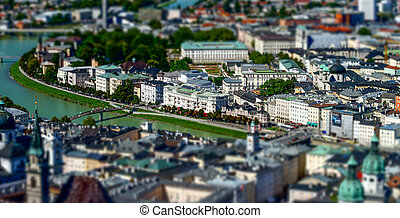 Tilt-shift aerial view to Salzburg, miniature effect,...