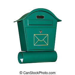 Mail letter box of green color isolated on white background