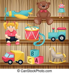 Kids Toys On Shelves Conposition - Composition with cartoon...