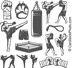 Muay Thai Monochrome Elements - Isolated monochrome elements...