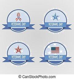 Labels for Veterans Day. November, patriotism, holiday, war,...
