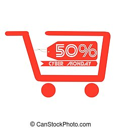 Cyber monday - Isolated shopping cart, Cyber monday vector...