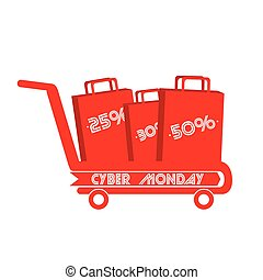 Cyber monday - Isolated shopping cart with bags, Cyber...