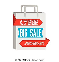 Cyber monday - Isolated shopping bag, Cyber monday vector...