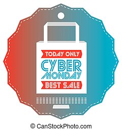 Cyber monday - Isolated label with a shopping bag, Cyber...