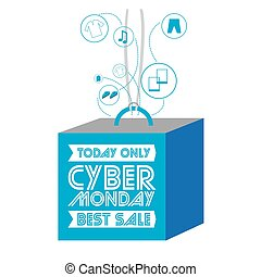 Cyber monday - Isolated 3d label, Cyber monday vector...
