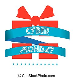 Cyber monday - Isolated silhouette of a gift, Cyber monday...