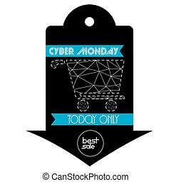 Cyber monday - Isolated label with a shopping cart, Cyber...