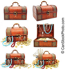 collection of ancient wooden trunks with money isolated