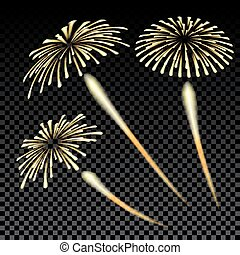 Bright fireworks in honor of the Feast on gradient background illustration