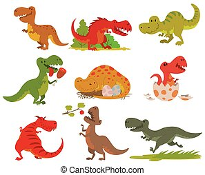 T-rex dinosaur vector set. - Dinosaurs cartoon collection....