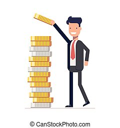 Businessman or manager puts money and coins in a pile. Calculation of financial return. Earned capital. Vector, illustration EPS10.