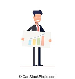 Businessman or manager with the schedule in the hands of a presentation. Man demonstrates the best strategy. Vector, illustration EPS10.
