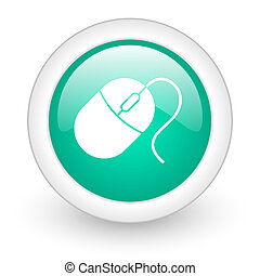 mouse round glossy web icon on white background