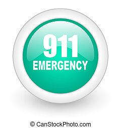 number emergency 911 round glossy web icon on white...