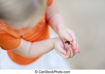 Close-up on a child holding little babyfrog on summer day