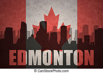abstract silhouette of the city with text Edmonton at the...