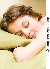 Beautiful girl sleeping - Portrait of a beautiful young lady...