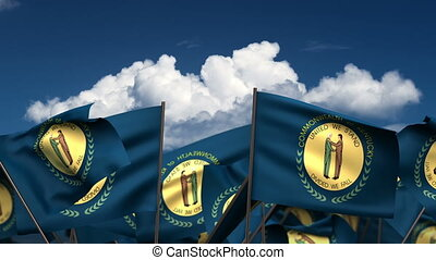 Waving Kentucky State Flags (seamless & alpha channel)