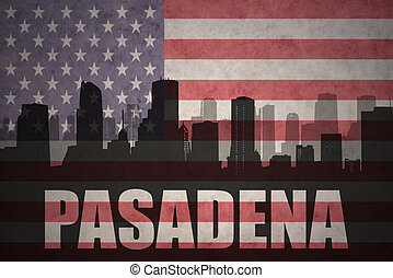 abstract silhouette of the city with text Pasadena at the...