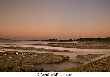 crepúsculo, ocaso, después, playa