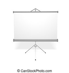 Projection screen - Blank projection screen over white...