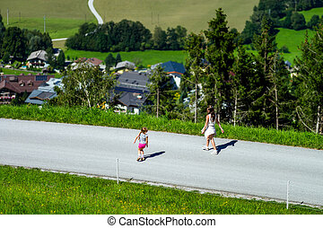 Two sisters running, happy childhood - Two sisters running...