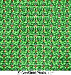 Seamless holly berries pattern. Vector traditional Christmas...