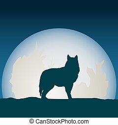 Wolf in front of the moon.