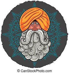 Guru - Cartoon portrait of Indian guru with big beard.